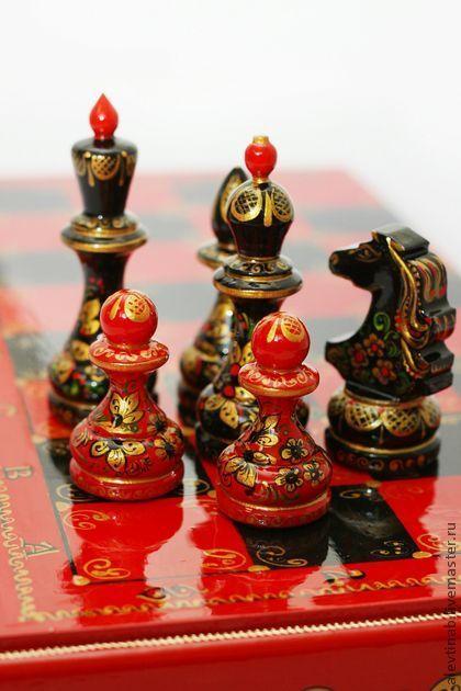 шахматы сувенирные Хохлома-яркая победа (большие) - шахматы,хохлома
