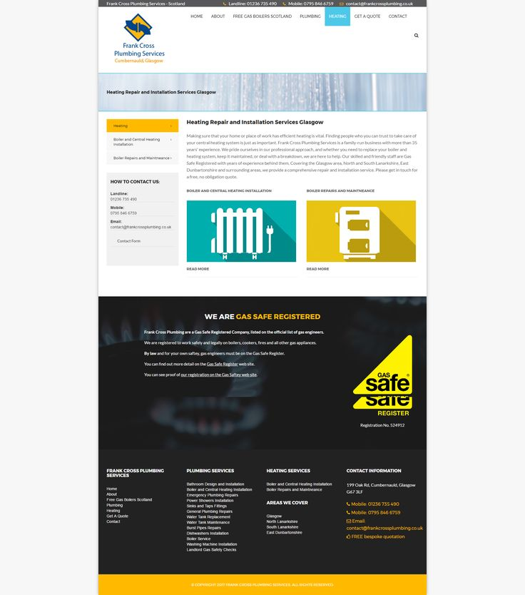 Plumbing web site design.   End product: A clean, mobile responsive web page built in Bootstrap, using Umbraco CMS as part of my Web Design services based in East Kilbride, Glasgow, in Scotland.