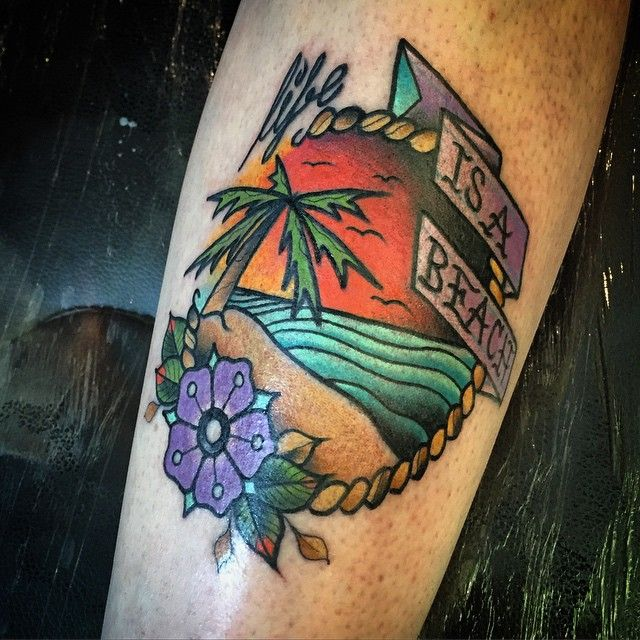 Life is a beach. Second from today! #tattoo #tattoos #traditional #trad #tradtats #traditionaltattoos #graff #graffiti #graffittitattoo #graffititattoos #grafftats #writer #graffitiwriter #writerswithtattoos #girlswithtattoos #catswithtattoos #neotraditional #neotrad #plt #andrewjohnsmith #ajs #uktta #ukbta #nofuckingabout #workhardplayhard