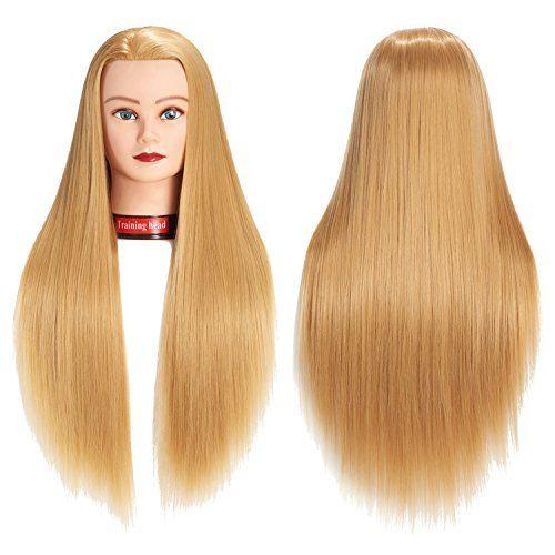 26 28 Mannequin Head Hair Styling Training Head Manikin Cosmetology Doll Head Synthetic Fiber Hair Hairdressin Hair Mannequin Hairdressing Training Head Hair
