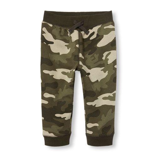 Baby Boys Toddler Boys Camo Print Fleece Camo Jogger Pants - Brown - The Children's Place