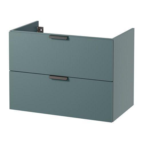 IKEA - GODMORGON, Szafka pod umywalkę z 2 szufladami, szaroturkusowy, 80x47x58 cm, , Bezpłatna gwarancja 10 lat. Warunki gwarancji znajdziesz w broszurze.Szuflady wykonane z litego drewna z dnem pokrytą odporną na zarysowania melaniną.Gładko chodzące samodomykające się szuflady z blokadą.W prosty sposób można zmienić rozmiar szuflady przestawiając przegródkę.Można wygodnie przeglądać i sięgać po swoje rzeczy, bo szuflady są całkowicie wysuwane.