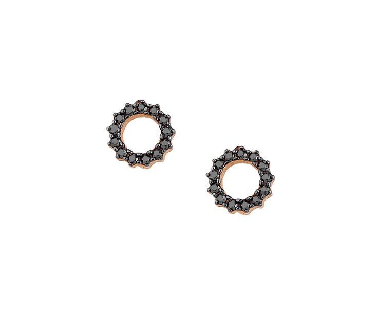 gold earrings in14K rose gold with black stones