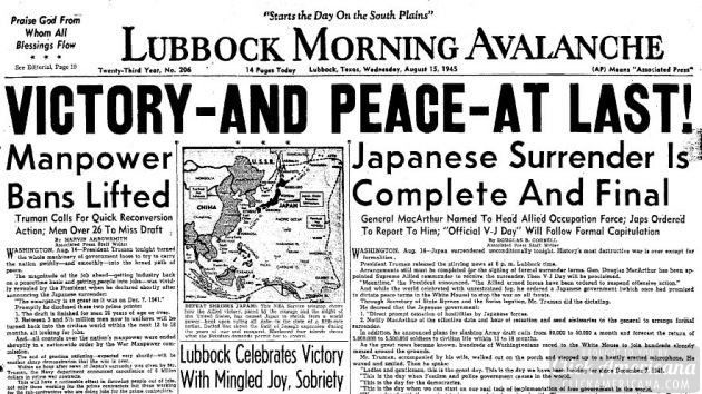 Victory – and peace – at last! Japan surrenders (1945)
