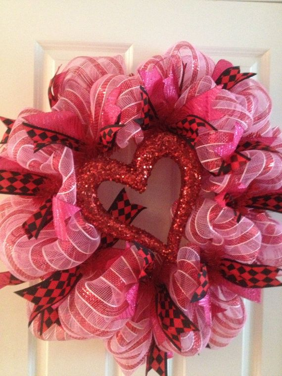 Valentines Day Deco Mesh Wreath by BrightsWreaths on Etsy, $60.00