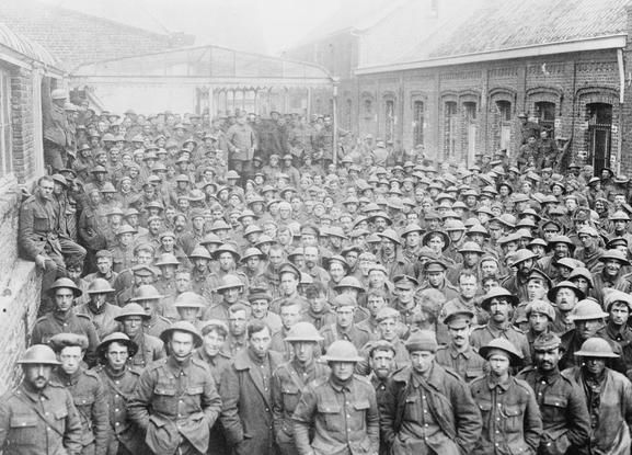 Masses of British prisoners captured during the Spring Offensive, March-April 1918.