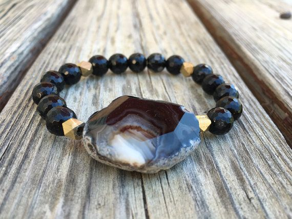 Gypsy Rocker / Black Onyx Beaded Bracelet with Faceted Agate Gemstone