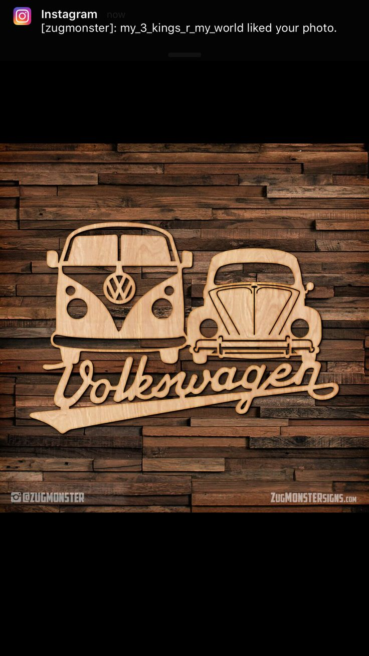 VW Bus and VW Bug laser cut wood sign.