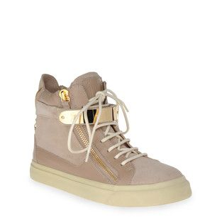 Dove gray nappa and suede high-top sneakers with two zippers at sides and light gold-tone plate on front.