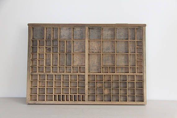 Antique French Letter Press Printer's Tray.  Letterpress