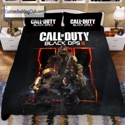 Call Of Duty Bed Set Duvet Cover Blanket Pillows Black Ops 3