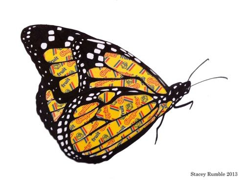 Monarch Butterfly - ink drawing + Chappies sweet wrapper overlays. By Stacey Rumble.