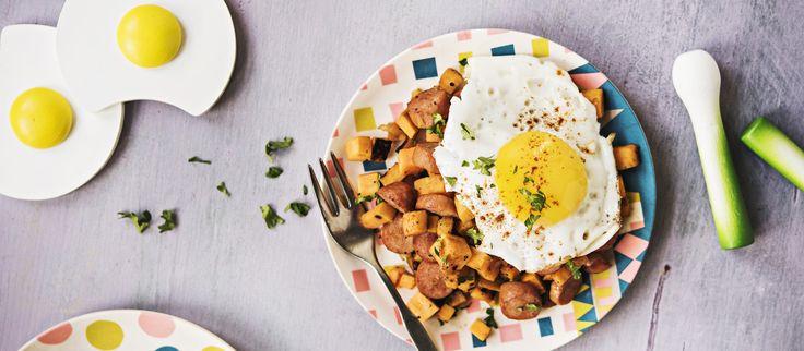 Bataattipyttipannu on kivaa vaihtelua tavalliselle pyttipannulle. Tarjoa helppo bataattipyttis paistettujen kananmunien kanssa. Noin 1,90 €/annos