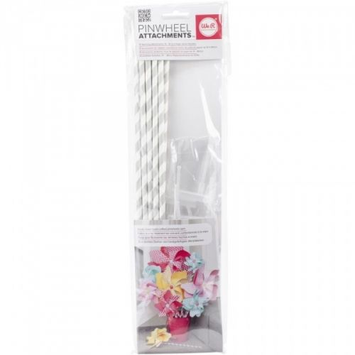 """WE R MEMORY KEEPERS - PINWHEEL ATTACHMENT - GRAY Pakke med håndtak tilPINWHEEL - """"VINDSNURRER"""" fra WE R MEMORY KEEPERS.Inneholder 10 stk fotte papir sugerør med 10 stk spinner til å feste som håndtak.  WE R MEMORY KEEPERS-Pinwheel Attachments. Easily make hand crafted pinwheels spin. Perfect for use with the pinwheel punch board (sold separately). This package contains ten spinning attachments and ten 15 inch long paper straw handles.  These attachments are designed to allow ..."""