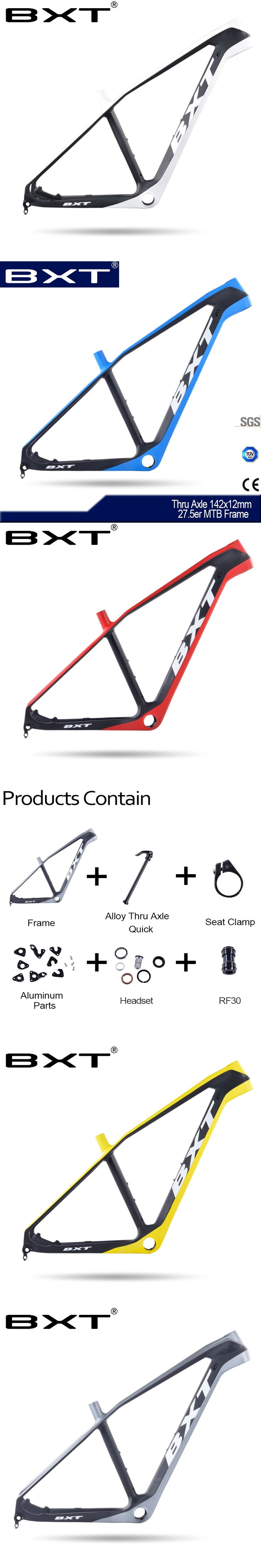 2017 BXT Mountain Bike Frame 27.5er Chinese Hot Sale Bicycles Carbon Frames Thru Axle142x12MM exchange 9MM MTB Carbon Bike Frame