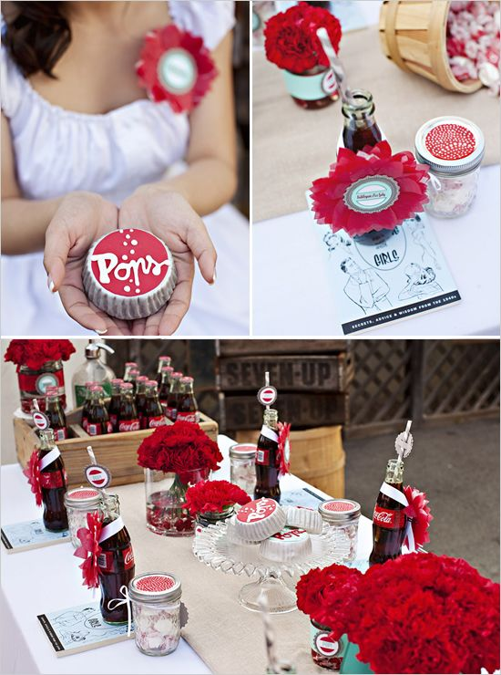 "cute theme carried out: ""Pop,"" red & aqua, desserts/food, favors, place mats/food labels"