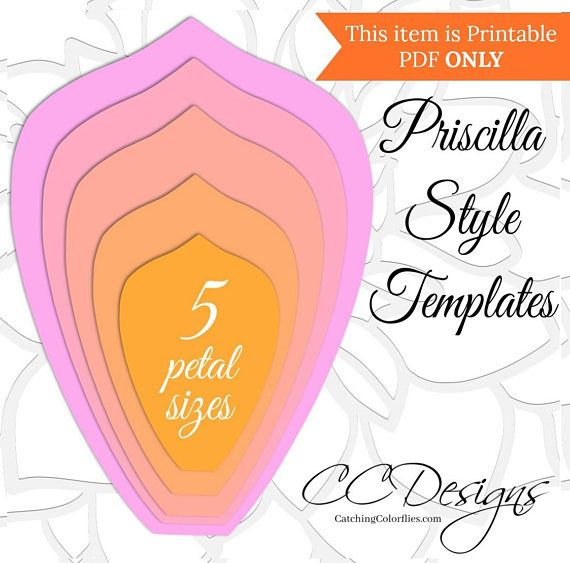 Extra Large Priscilla Style And Leaf Paper Flower Pdf Printable