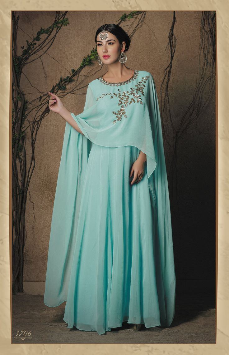 Elegant Sky Blue Cape-Style Anarkali Gown