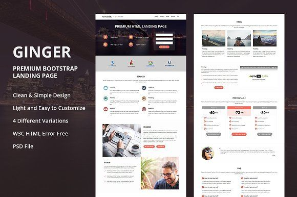 Ginger Premium Html Landing Page Landing Page Page Template