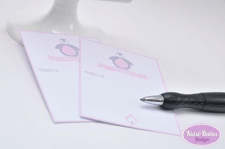 Kids&Babies: Party Printables :: Baby Shower Pinguim - cartões (7x10cm) para mensagens