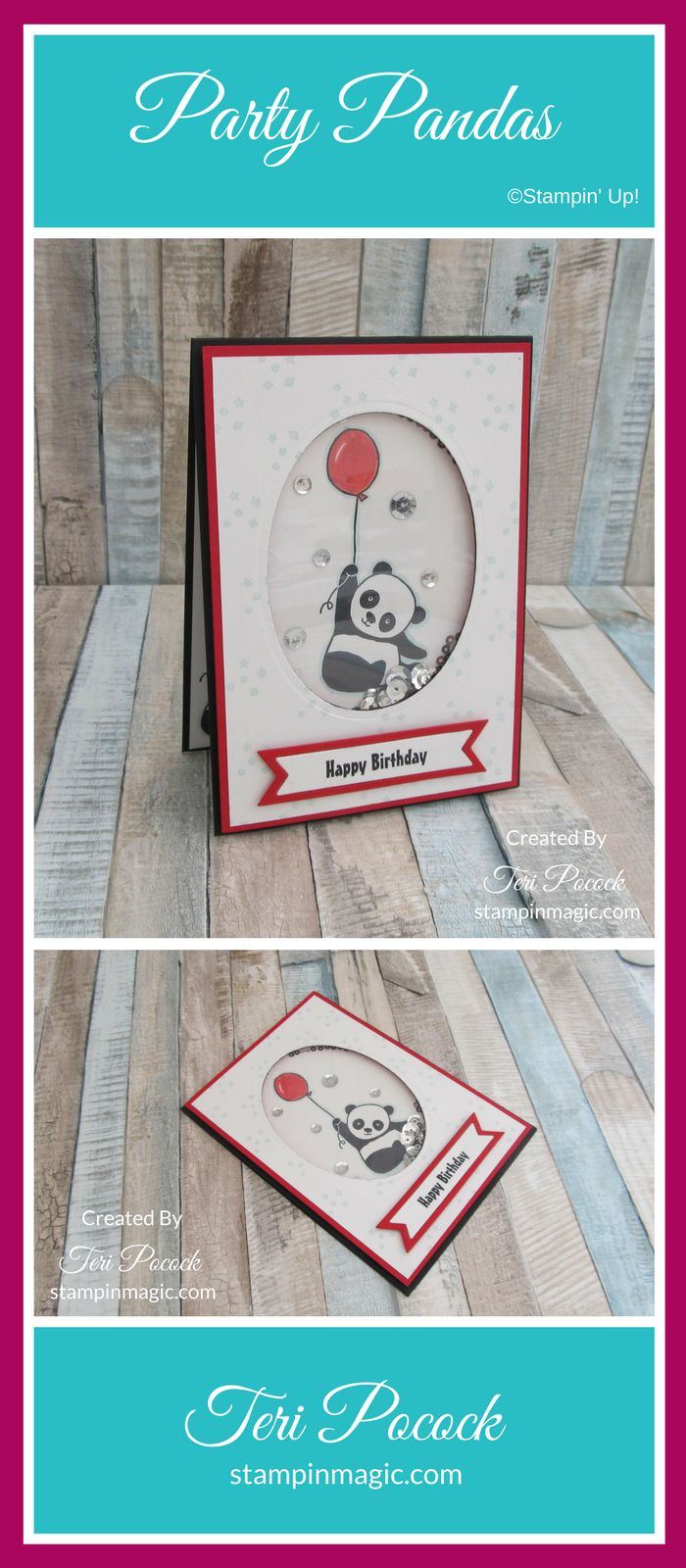 Party Pandas by Stampin Up. Created by UK Independent Demonstrator Teri Pocock. Click through for more details.#teripocock #stampinup #stampinupuk #partypandas