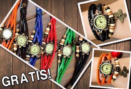 Lederen horloge in 6 kleuren met vlindertje t.w.v. €24,95 nu GRATIS!  https://www.vouchervandaag.nl/Lederen-horloge-vlinder-gratis  #horloge #gratis #vouchervandaag
