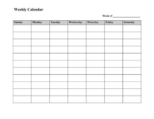 Free printable weekly calendar template in microsoft word with columns for each day of the week to track tasks and events.