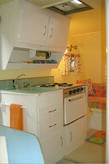 Vintage camper kitchenTrailers Interiors, Vintage Trailers, Cinnamon Rolls, Vintage Scottie Campers, Travel Trailers, Kitchens Cabinets, Bright Colors, Campers Kitchens, Vintage Campers