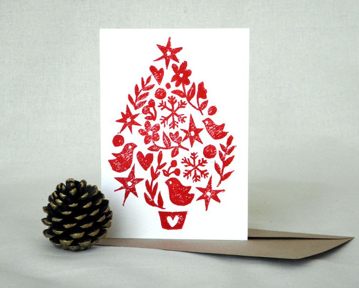 Christmas Tree Linocut Block Print Card. $5.50, via Etsy.