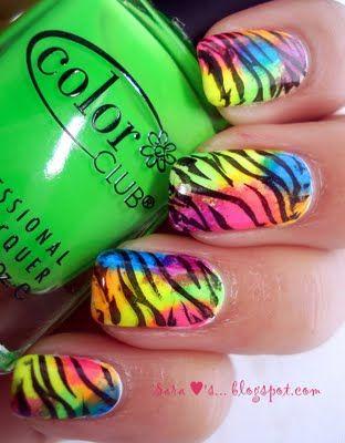 Pretty Neon Colors!: Nails Art, Nailart, Neon Zebras, Naildesign, Nails Ideas, Zebra Nails, Zebras Prints Nails, Nail Design, Zebras Nails Design