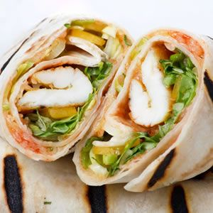 Chicken avocado wrap with mustard mayonnaise*