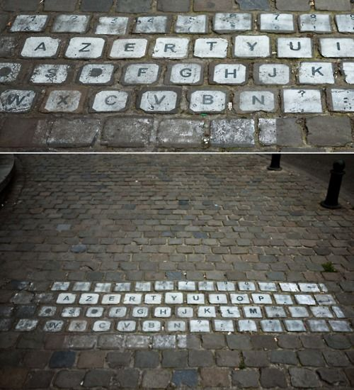 cobbled stone keyboard.
