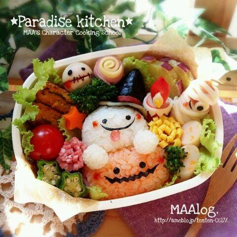 キャラ弁☆仲良しおばけちゃんのハロウィン弁当 :D |*Paradise Kitchen*