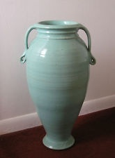 Large Vintage 1940's A.R. Cole North Carolina  Pottery Vase Aqua Glaze