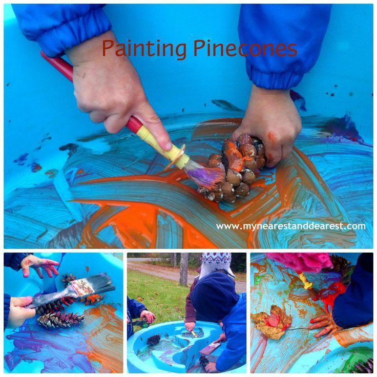 Painting Pinecones Sensory Activity