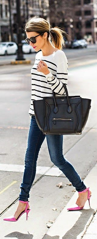 Hello Fashion - Striped Knit Sweater Top with Ripped Skinny Jeans and Pink Pumps or Black Handbag.