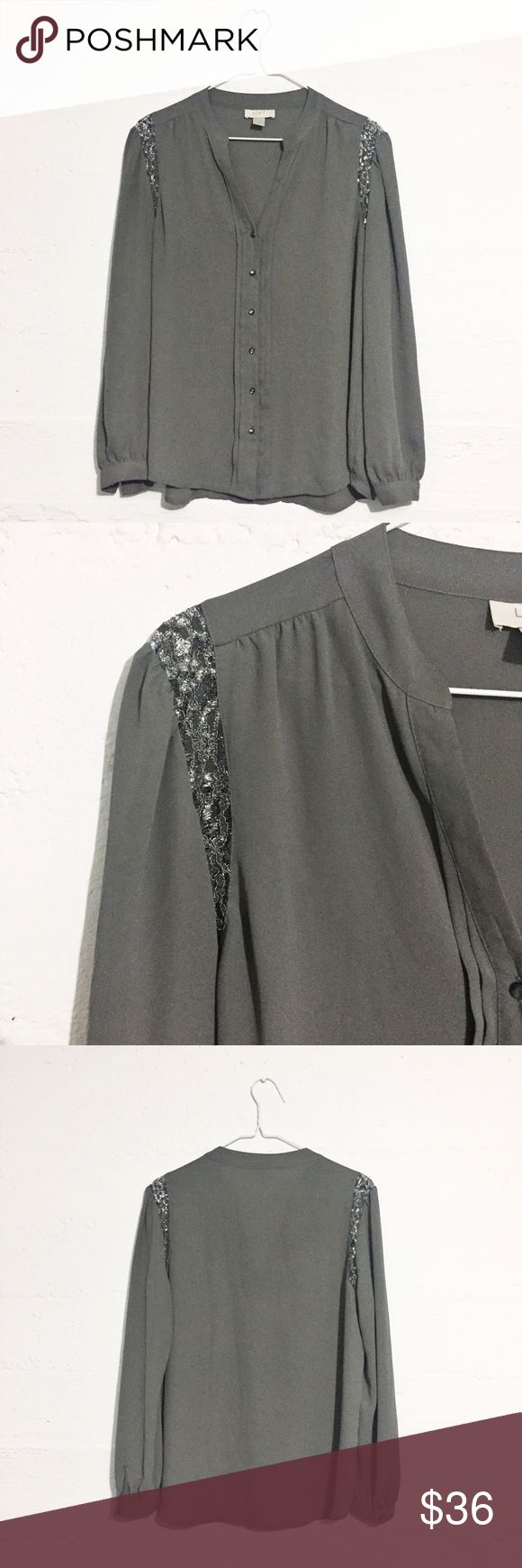 Gorgeous Gray Loft Blouse Lightweight Blouse with lace insert on shoulders. Petite sizing. Great condition. Offers accepted. No trades. LOFT Tops Button Down Shirts