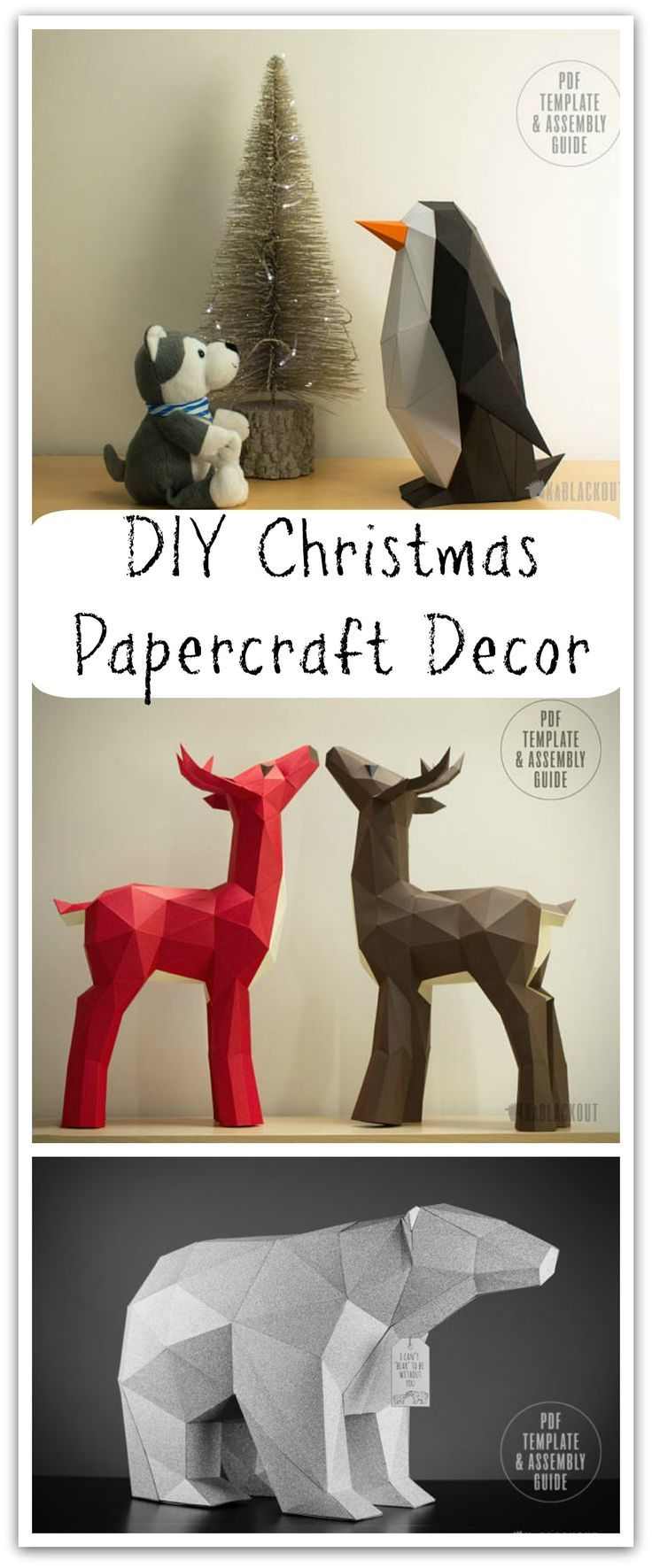 Low Poly Papercraft Templates | DIY PDF Downloads - We design our own unique papercraft templates for you to create beautiful home décor. Christmas Decor Craft, 3D Paper Printable PDF  #ad #affiliate