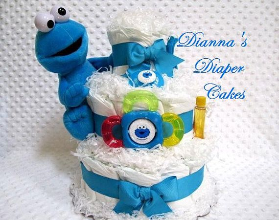 Baby Diaper Cake Cookie Monster Shower Gift Or Centerpiece Ready Made And  Ready To Ship