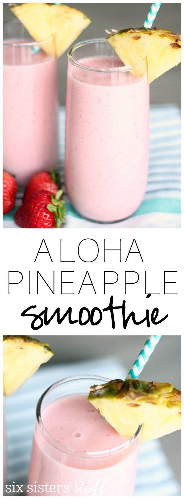 Copycat Jamba Juice Aloha Pineapple Smoothie from SixSistersStuff.com | Healthy Snack Recipes | Kid Approved Snacks | Summer Drinks | Non-alcoholic Drink Ideas