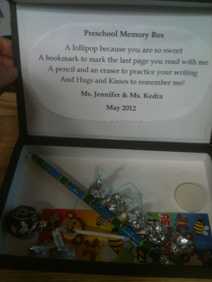 My younger son had wonderful preschool teachers. Here's one of their graduation gifts to the kids.