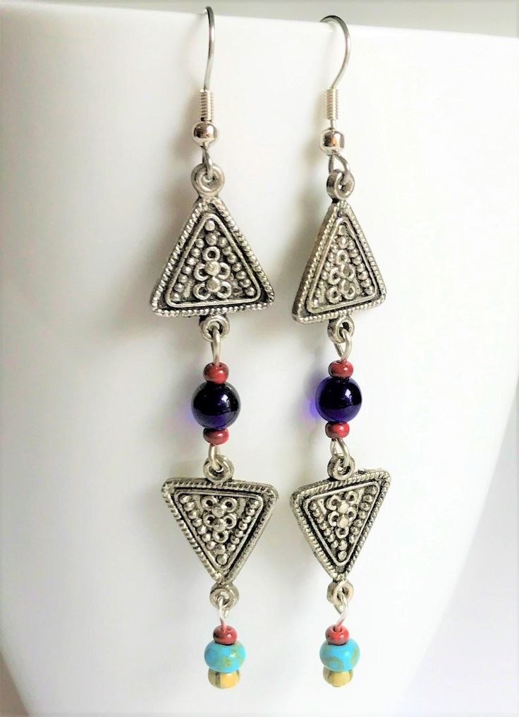Bohemian Tribal Earrings Rustic Czech Glass Beads Long Dangle Earrings Antiqued Silver Trendy Handcrafted Gift for Her by BCJewelryDesignsCo on Etsy