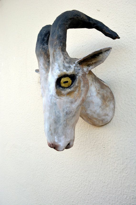Faux Taxidermy Goat With Spiral Horns Ready To Ship By