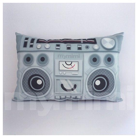 "Hip Hop, Old School, Music Pillow, Vintage Radio, 80's Music, Stereo, Hip Hop, Throw Pillow, Cushion, Dorm, 17 x 10"" on Etsy, $22.52 CAD"
