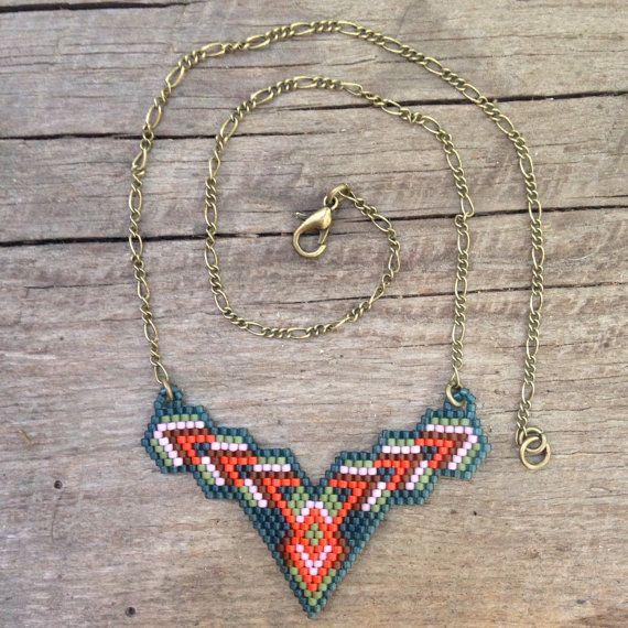 Nispannatara...seed bead necklace, brick stitch,OOAK, beaded, tribal