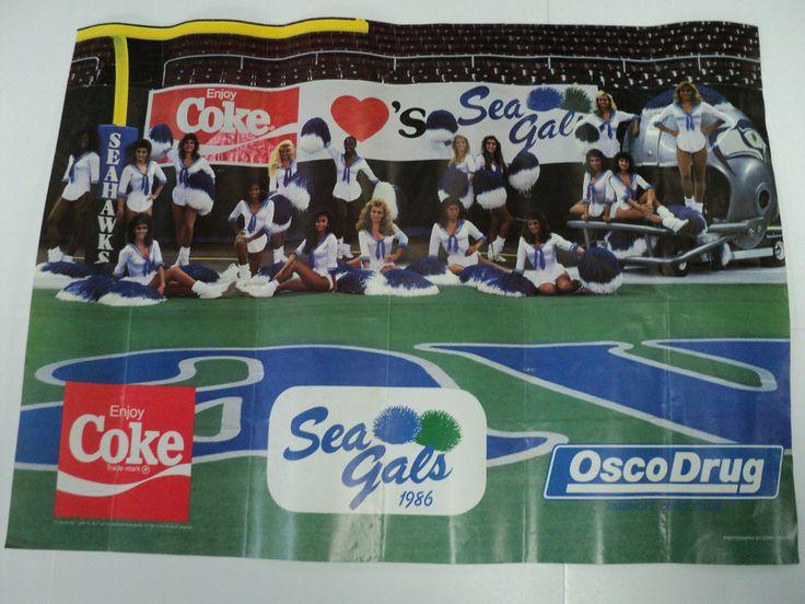 1986 Seattle Seahawks Seagals Cheerleaders Poster Vintage