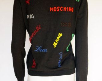 Moschino Jeans vintage cardigan sweater beads subtitles silk jacket cardigan…