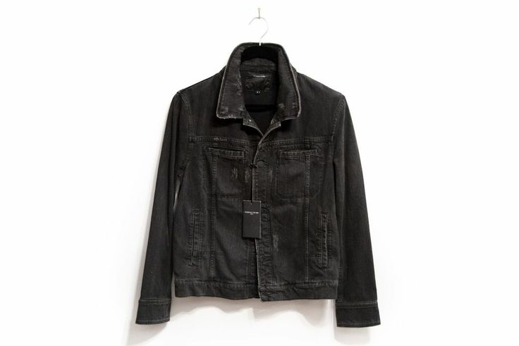 SOLD - SURFACE TO AIR PARIS - BLACK DENIM DISTRESSED JEAN JACKET - MENS - BNWT #SurfacetoAir #Motorcycle