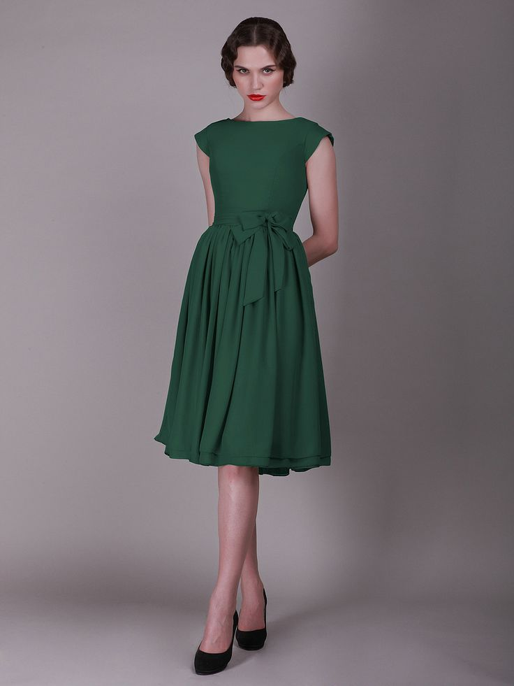 $159 Cap Sleeved Vintage Bridesmaid Dress with Faux Buttons   Up to 15% off, plus FREE Custom Made! 10+ measurements required for a perfect fit, no matter what sizes you are in!