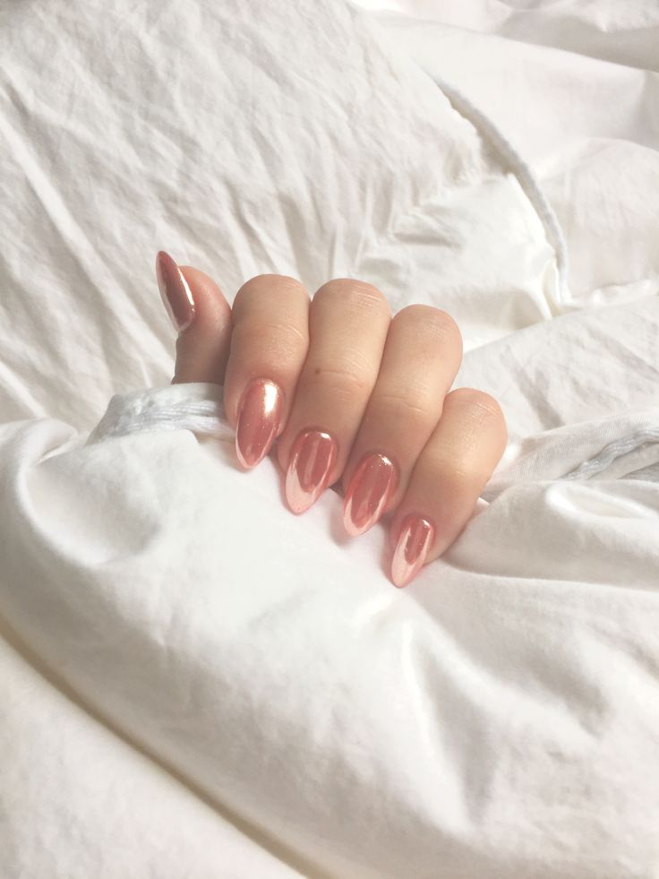 Pink rose gold chrome nails manicure Almond nails
